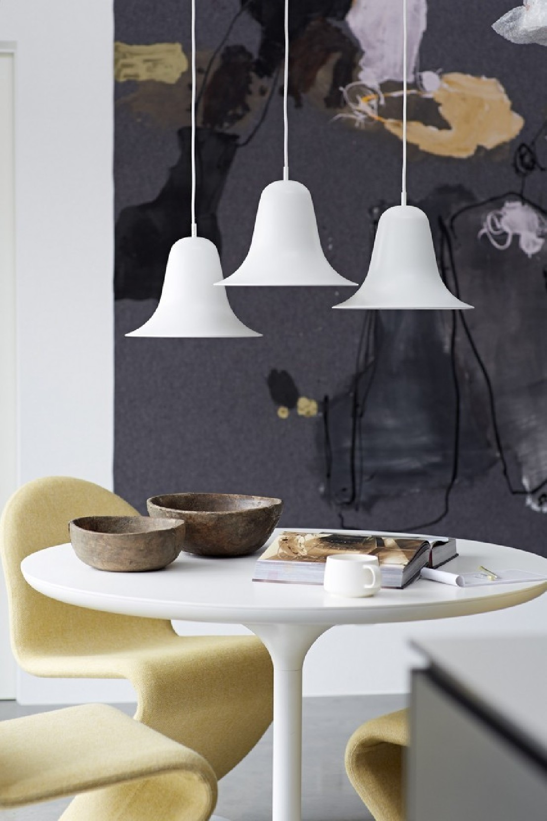 chaises verpan en tissu tonus ivoire. Black Bedroom Furniture Sets. Home Design Ideas