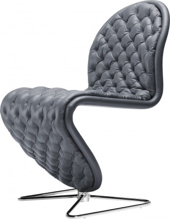 Chaise Deluxe pied papillon Verpan system 1-2-3 cuir Verpan Ultra