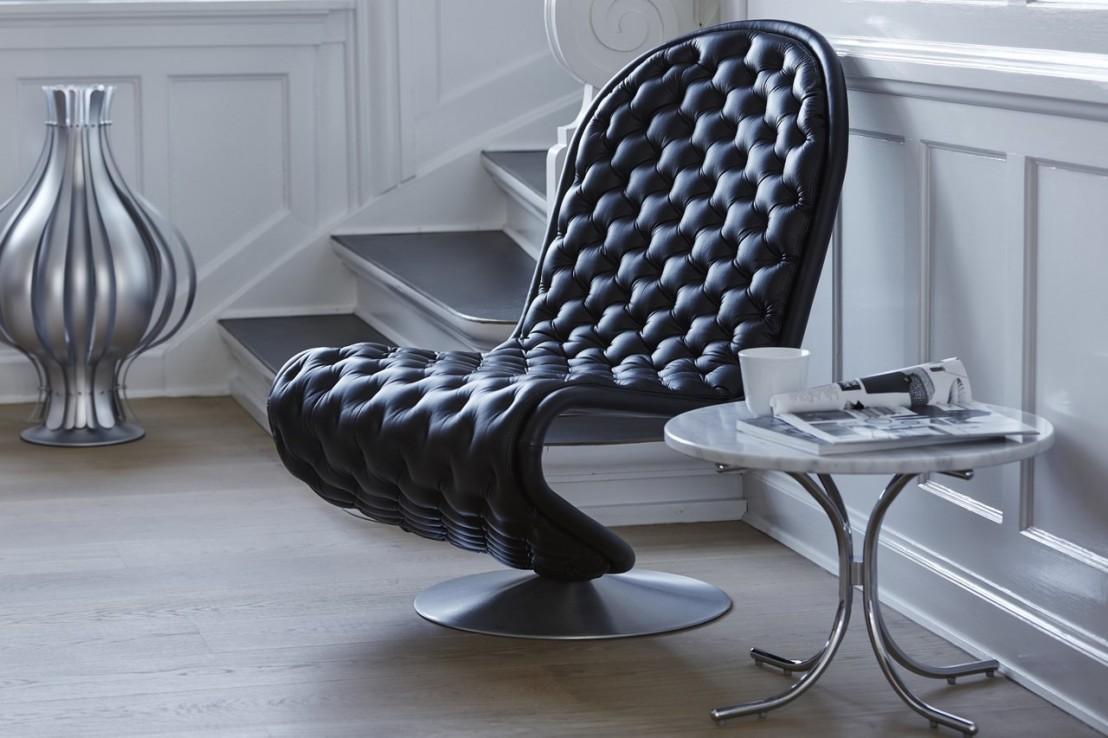 chaise panton lounger basse en cuir verpan piqu chesterfield marrone. Black Bedroom Furniture Sets. Home Design Ideas