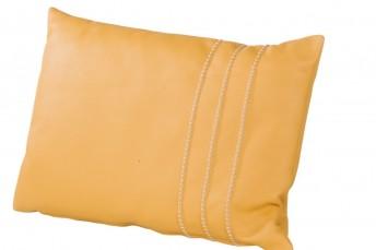 Coussin cuir rectangulaire coutures fantaisie 60 x 40 cm plumes ou mousses