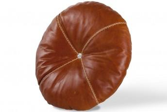 Coussin en cuir rond avec 1 cristal de Swarovsky au centre