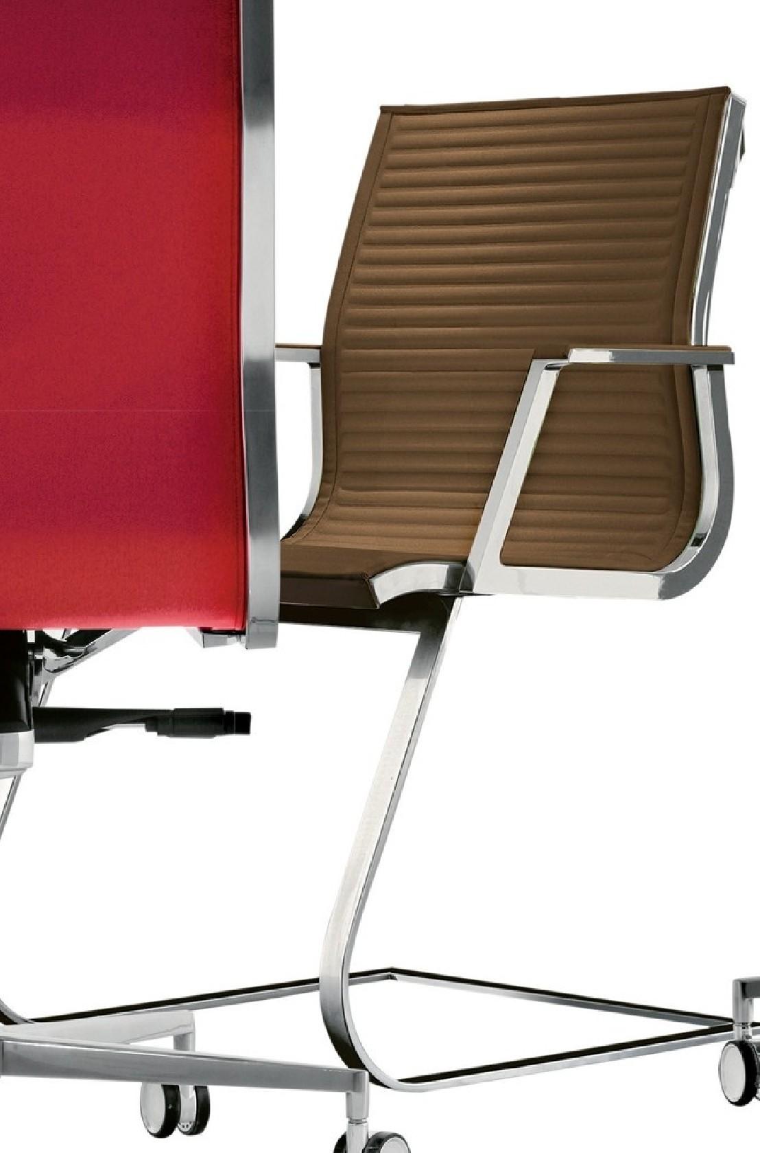 Fauteuil design accoudoirs pied luge en cuir nulite for Copie de fauteuil design