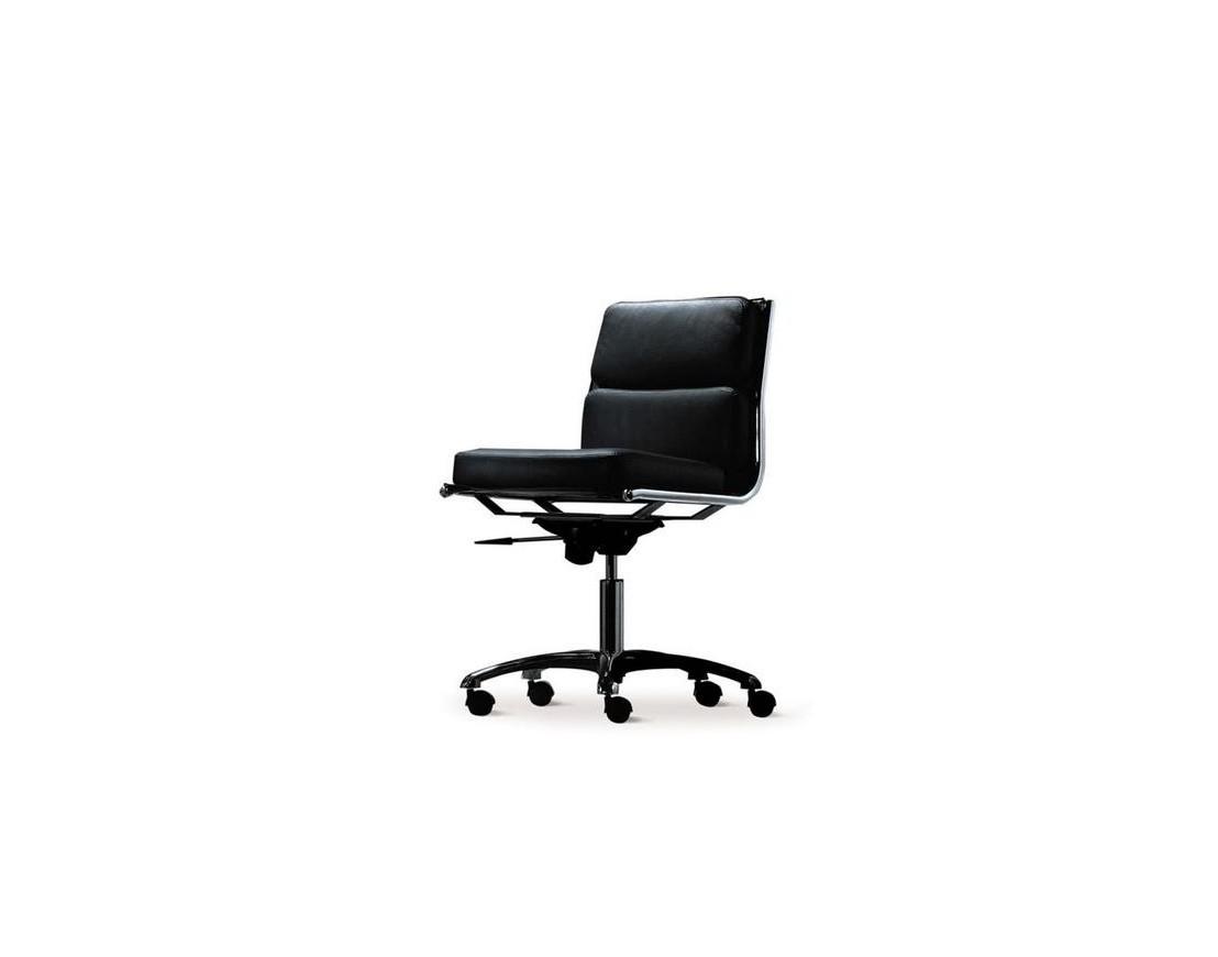 fauteuil r union rembourr cuir light dos bas roulettes pas d 39 accoudoirs. Black Bedroom Furniture Sets. Home Design Ideas