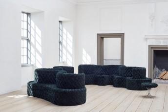 Verpan, canapé 3 places Cloverleaf modulable en tissu Kvadrat ARGO 982, Raf SIMONS