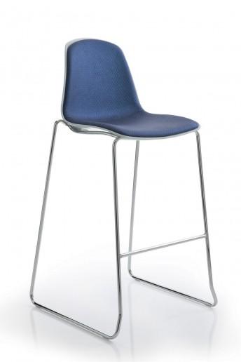 Tabourets de bar EPOCA par 4, assise et dos cuir ou tissu couleur au choix