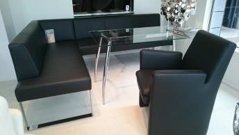 Ensemble coin repas + fauteuil + table cuir noir SeaSide