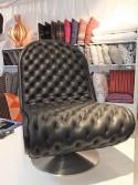Fauteuil VERPAN low lounge cuir pleine fleur Masérati noir delux
