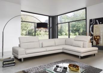 Canapé d'angle ALLEN-J 5 places avec têtières, cuir ou tissu