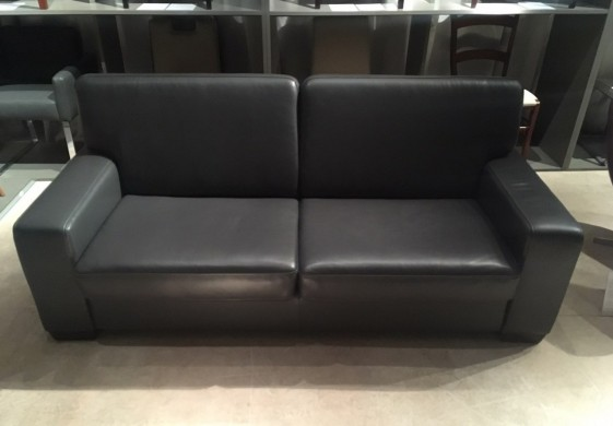 Canapé convertible Neuilly couchage quotidien cuir gris