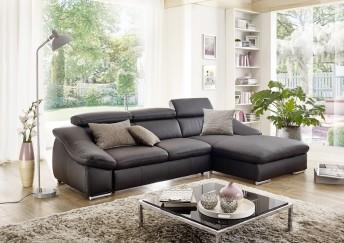 ALOW.B, canapé angle cuir ou tissu 3 places chaise longue