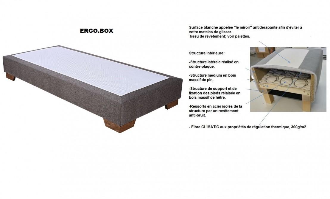 ensemble sommier ergo box matelas ressorts ensach s spa 140x200 cm. Black Bedroom Furniture Sets. Home Design Ideas