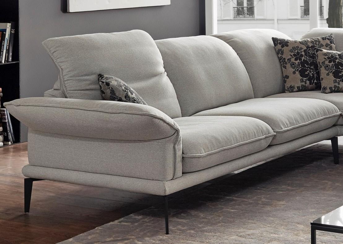 canap angle 4 places tissu gris clair contemplation tm. Black Bedroom Furniture Sets. Home Design Ideas