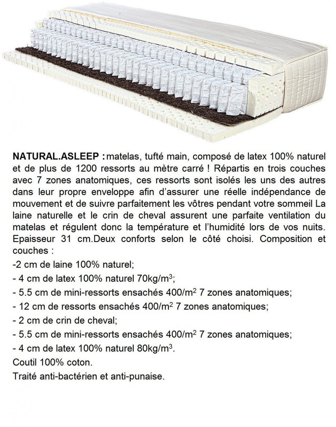 matelas latex 100 naturel 160 cm triple ressorts double sommier ergobox. Black Bedroom Furniture Sets. Home Design Ideas