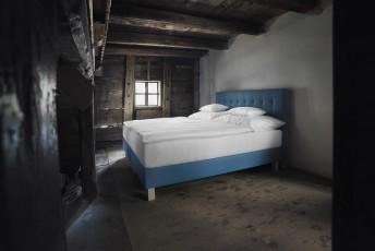 Lit complet 100% BIO PRESTIGE tête de lit capitonnée + sommier + matelas PERFECT.SPRING.ROYAL VITALWOOD 160*200