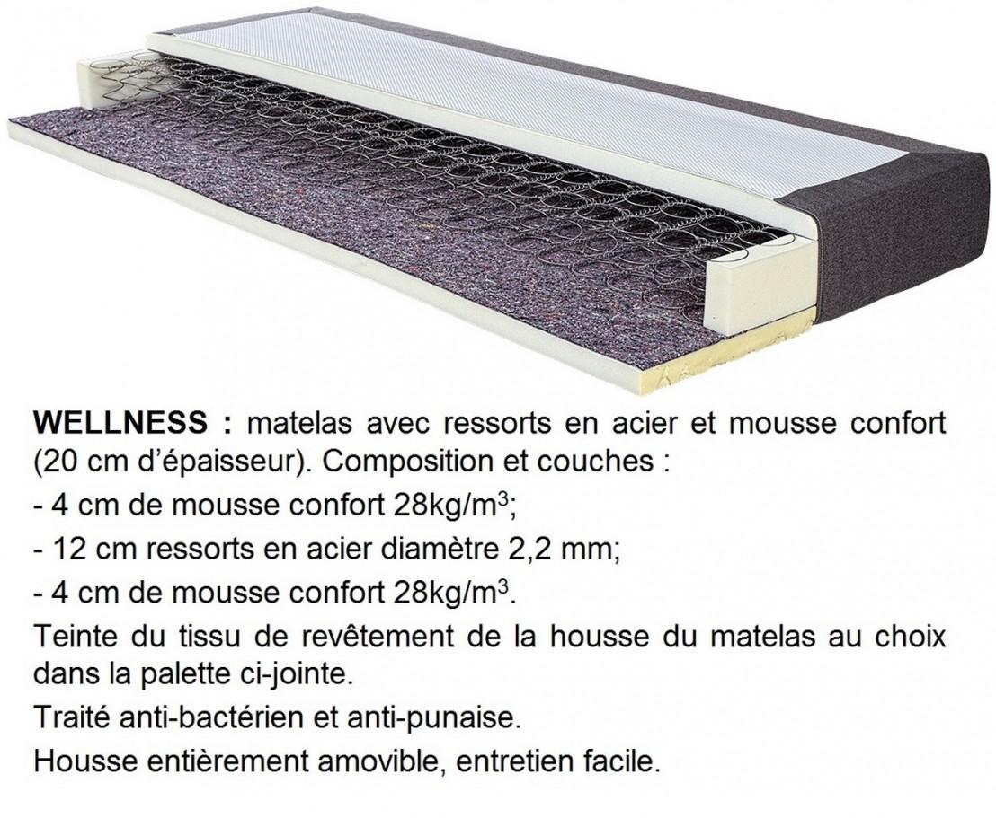 sommier matelas 180 x 200 cm wellness livraison offerte. Black Bedroom Furniture Sets. Home Design Ideas