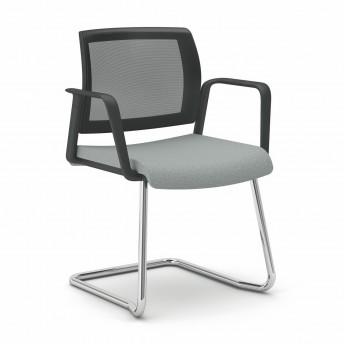 OFFICE 655 chaise de bureau avec accoudoirs, dossier maille, pied luge