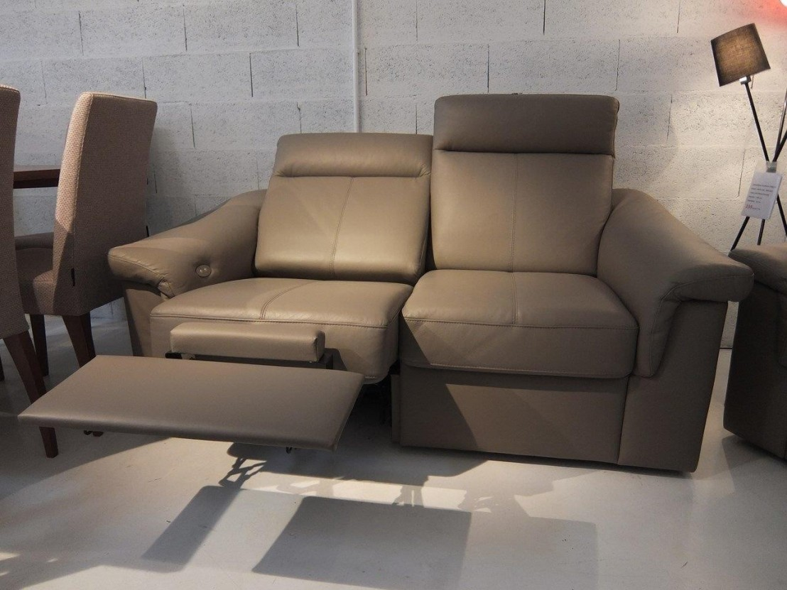 Canap relax 2 places johnjohn cuir taupe - Canape 2 places electrique ...