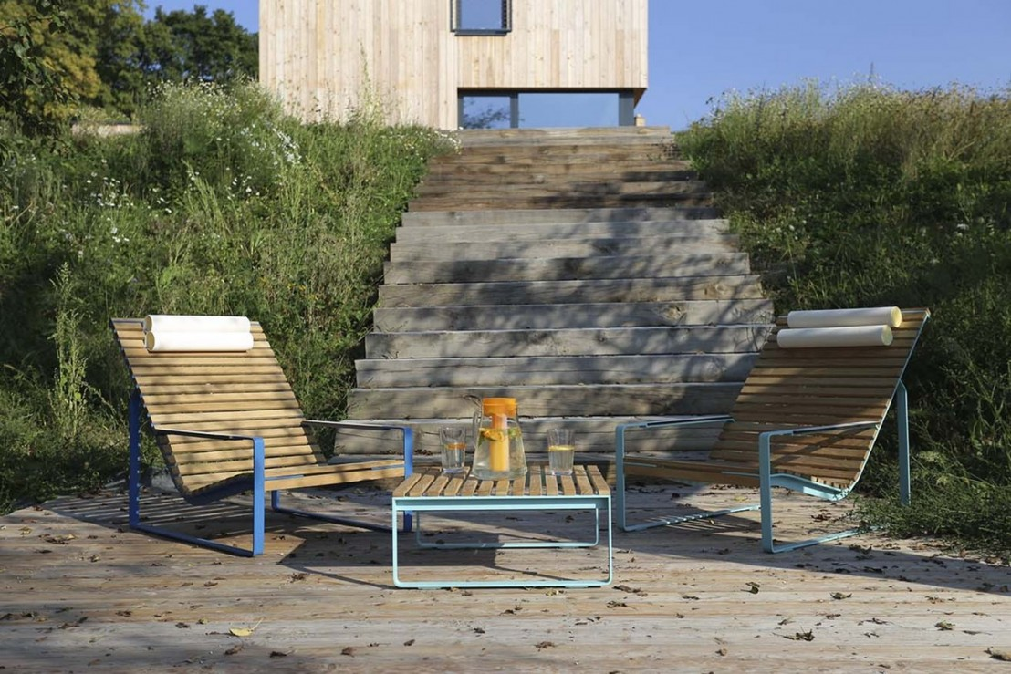 Fauteuil lounge transat pr va ext rieur de jardin en for Mobilier de jardin bois et metal
