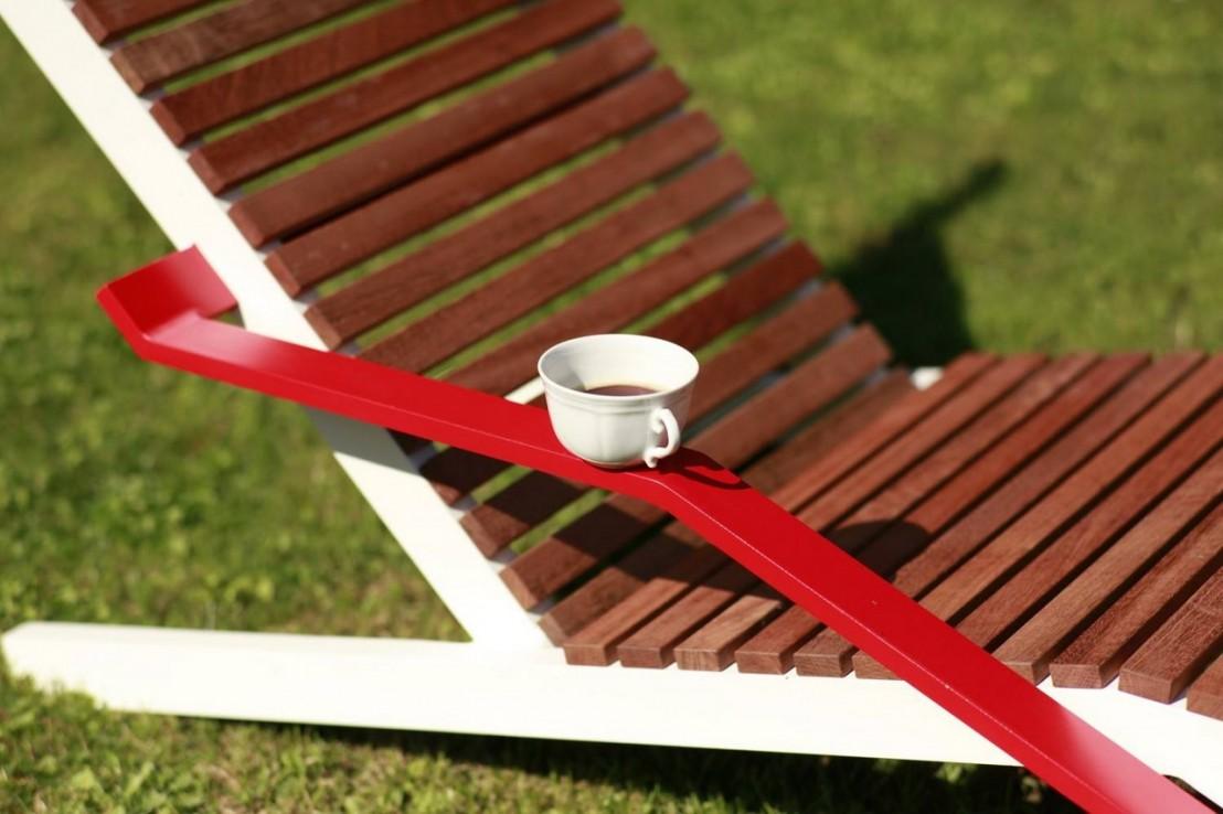 chaise longue alva ext rieur de jardin en aluminium de couleur et bois massif seanroyale. Black Bedroom Furniture Sets. Home Design Ideas