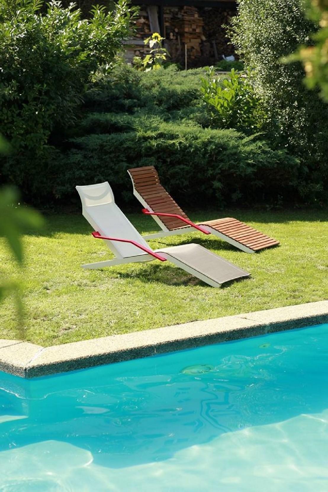 Chaise longue alva ext rieur de jardin en aluminium de for Chaise longue de jardin en bois