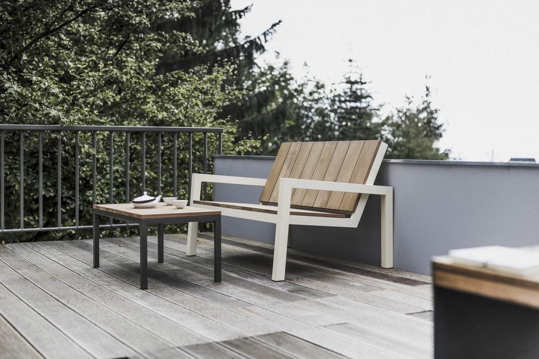 table basse laurdede rectangulaire 90 cm pour jardin en m tal acier de couleur et en bois massif. Black Bedroom Furniture Sets. Home Design Ideas