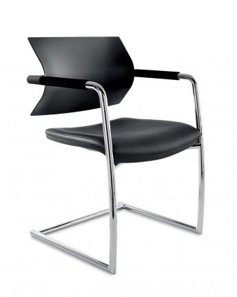 AIRE JR, lot de 2 chaises d'accueil et de collectivité cuir artificiel ou tissu avec accoudoirs