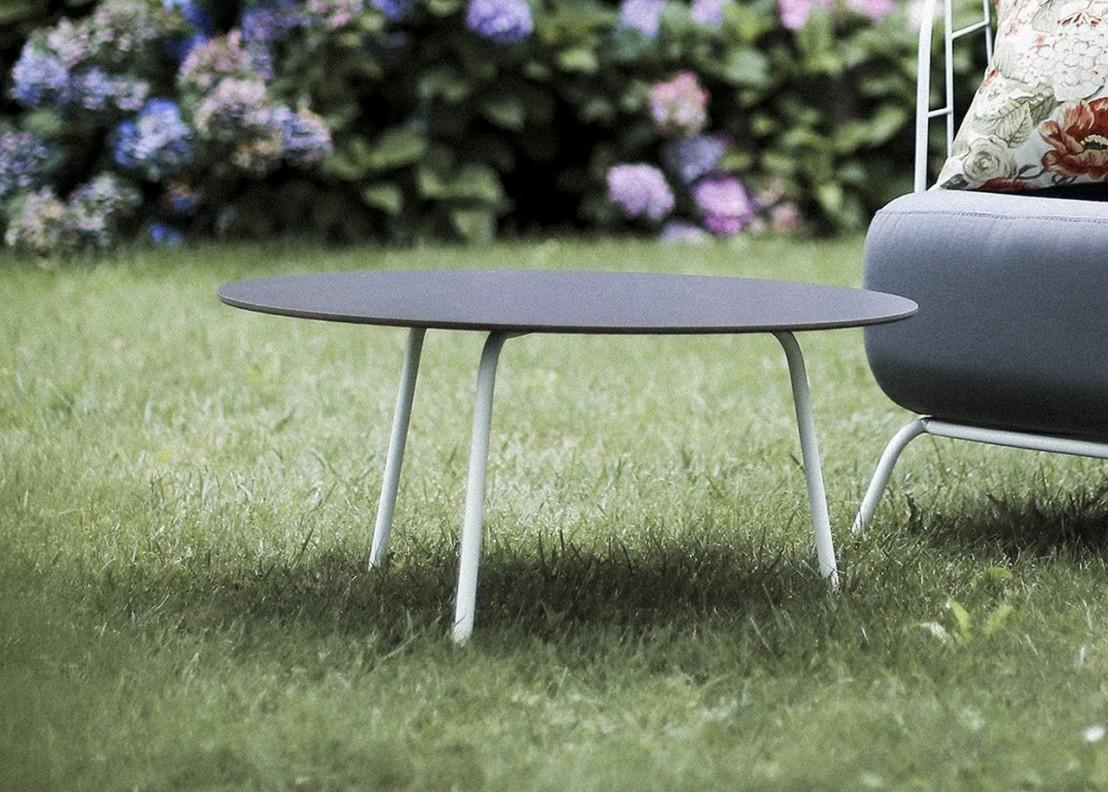 Table basse ronde 70 cm maj ext rieur de jardin en m tal acier de couleur et plateau en hpl - Table jardin couleur rennes ...