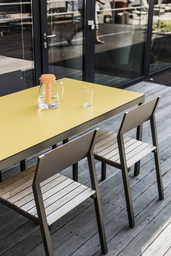 table cora rectangle 175 cm pour salon de jardin en m tal aluminium de couleur et plateau en hpl. Black Bedroom Furniture Sets. Home Design Ideas