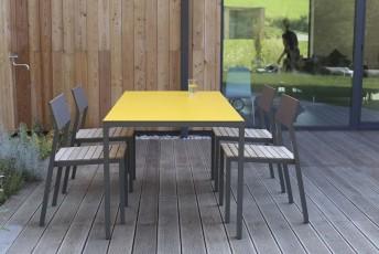 Salon de jardin CORA, table rectangle 175 cm et 4 chaises, métal ...