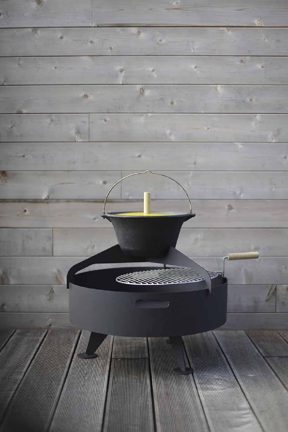 petit brasero grill rond 60 cm back to fire avec chaudron pour terrasse en acier inoxydable. Black Bedroom Furniture Sets. Home Design Ideas