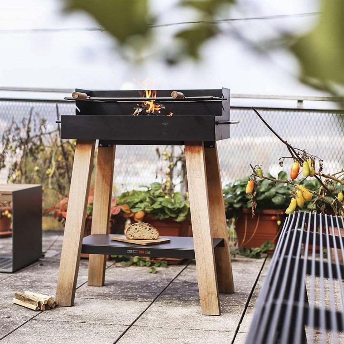 ... Barbecue Grill Sur Pieds BACK TO FIRE Extérieur Au Charbon, En Bois  Massif Et Acier ...