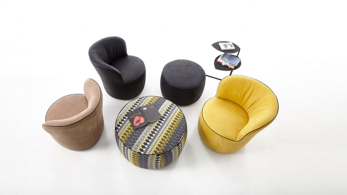 fauteuil aux formes voluptueuses lido en cuir. Black Bedroom Furniture Sets. Home Design Ideas