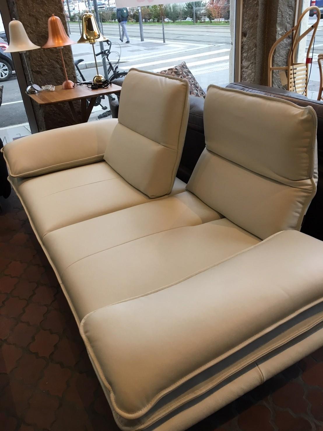 Canap banc design cuir blanc miami alwin c for Teindre canape cuir