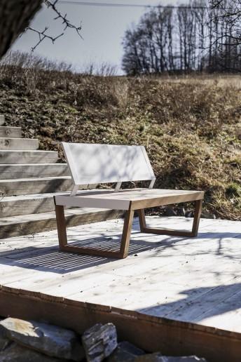 Banquette 2 places extérieur de jardin BARKA design en bois massif, acier et tissu outdoor