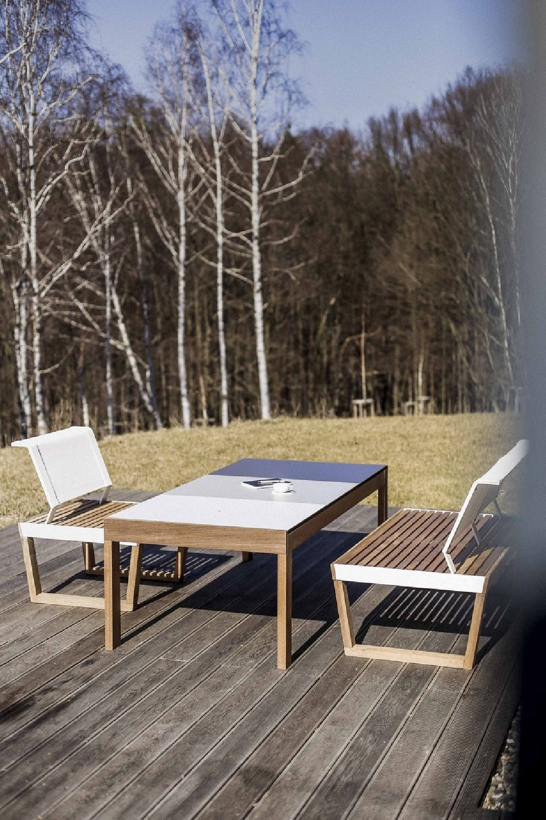 Banquette 2 places ext rieur de jardin barka design en for Barrieres bois jardin