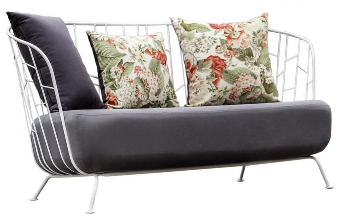 Salon de jardin maj canap 2 places fauteuil table basse et petite table haute acier de - Table haute et basse ...