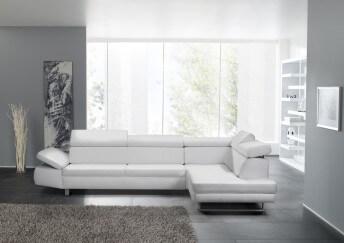 Canapé d'angle 5 places BandiBandi cuir blanc ou autres teintes