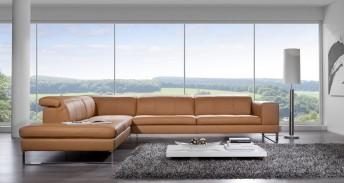 Canapé 3 places avec chaise longue BJBent en cuir