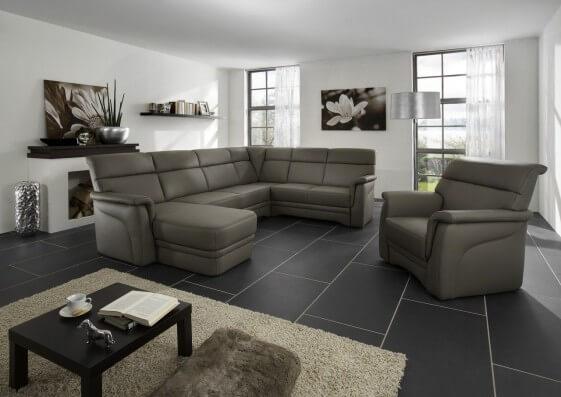 Grand canapé d angle cuir ElekTra 6 places en U