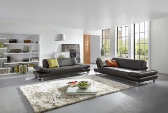 Canapé 2 places design XXL profond LONGRUN en cuir