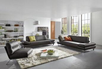 Canapé profond XXL LONGRUN en cuir design 3 places