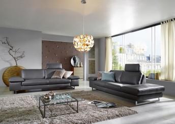 Canapé 3 places ICON terminaison Ottomane design en cuir