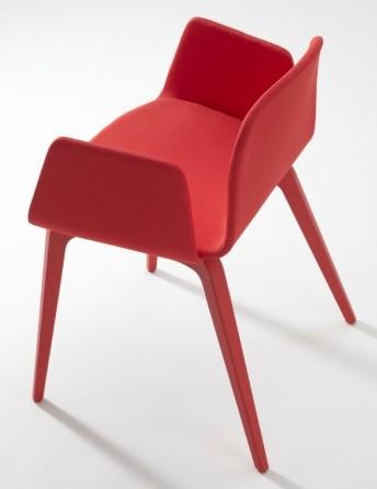 Blaine-R, paire de fauteuils avec accoudoirs en tissu pieds laqués