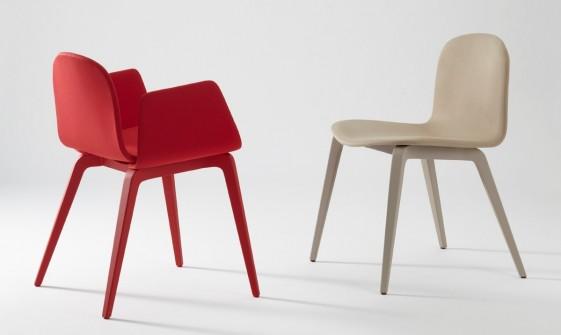 Blaine-R, ensemble 3 chaises & 3 fauteuils bois tapissé & design