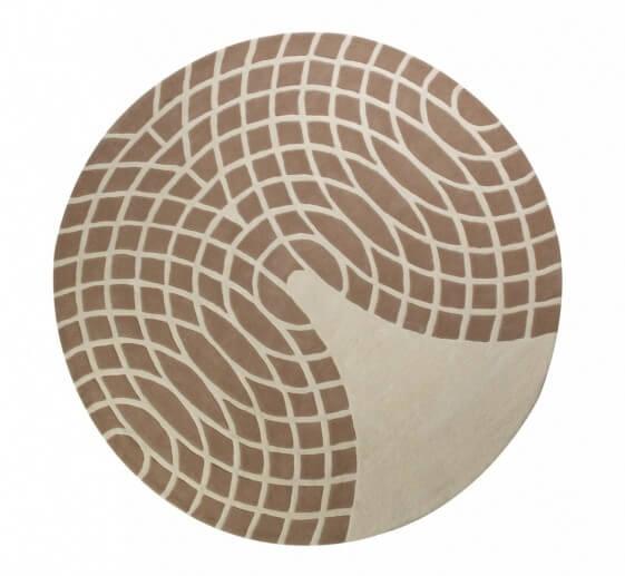 Tapis Verner Panton 100 % laine sable et brun
