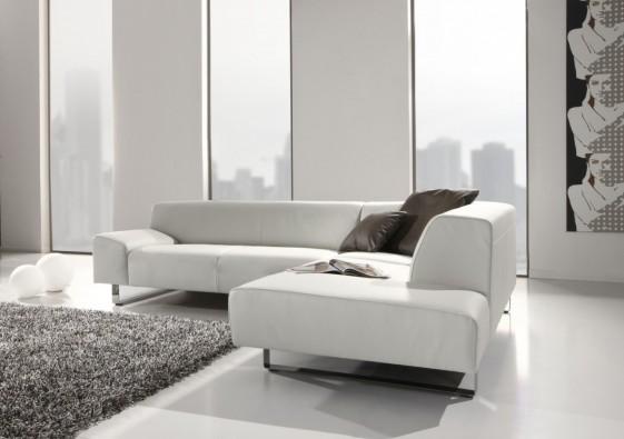 Canapé d'angle minimaliste 5 places en cuir M.Madonna