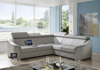 Canapé d'angle 4 places Karven cuir ou tissu