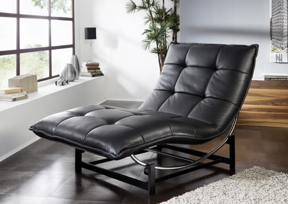 chaise longue en cuir de relaxation rockme l avec support. Black Bedroom Furniture Sets. Home Design Ideas