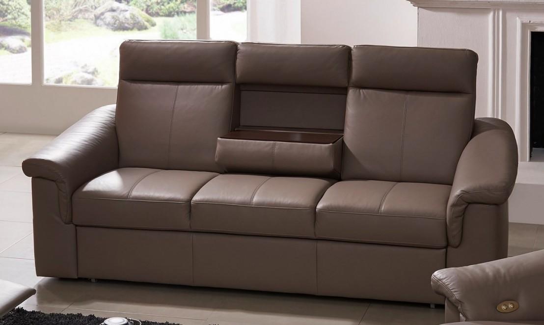 canap cuir 3 places tablette rabattable johnjohn. Black Bedroom Furniture Sets. Home Design Ideas