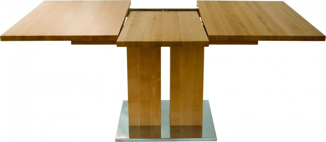 Table design bois massif grande rallonge md1 140 x 90 cm for Table ronde 90 cm avec rallonge
